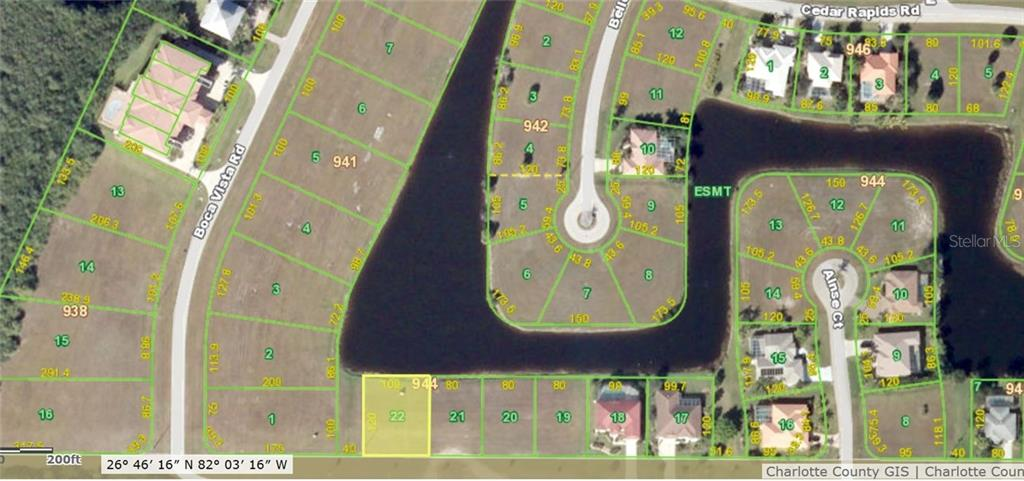 Aerial photo with lot dimensions. - Vacant Land for sale at 23926 Vincent Avenue, Punta Gorda, FL 33955 - MLS Number is C7236330