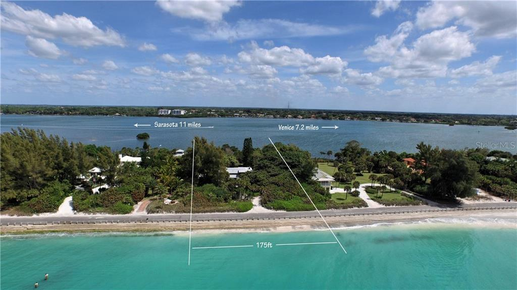 608 North Casey Key Road has a total land area of 65,340 sq. ft. The lot dimensions are 175 ft. (Gulf front) x 450 ft. (south boundary) x 175' (Little Sarasota Bay front) x 467' (north boundary). - Vacant Land for sale at 608 N Casey Key Rd, Osprey, FL 34229 - MLS Number is A4127758