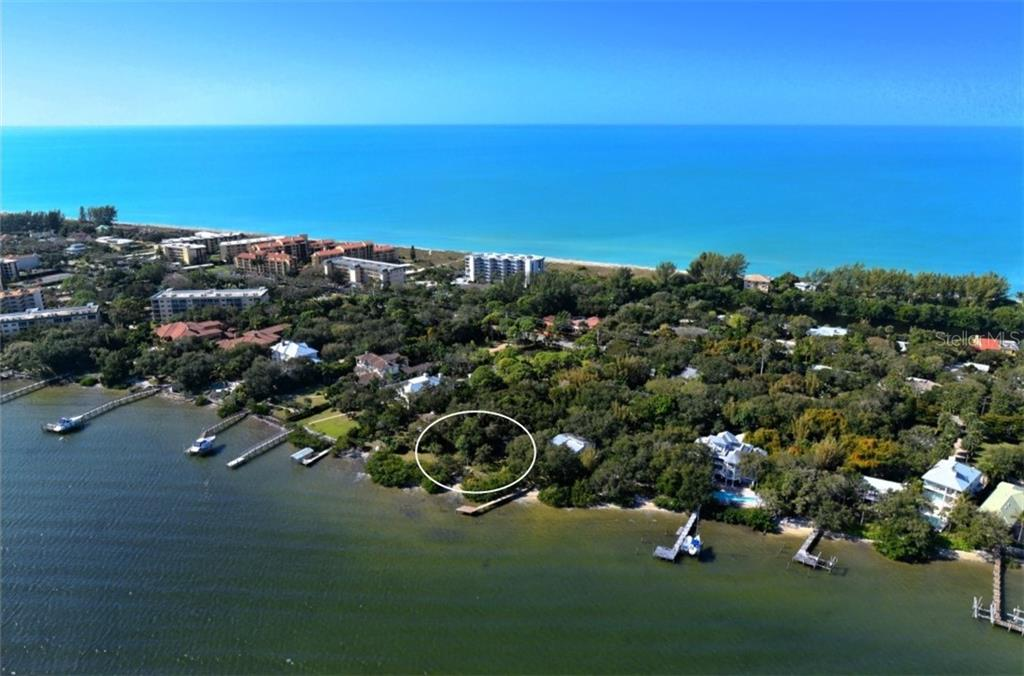 Aerial view of your location on the Bay - Vacant Land for sale at 8535 Midnight Pass Rd, Sarasota, FL 34242 - MLS Number is A4146348