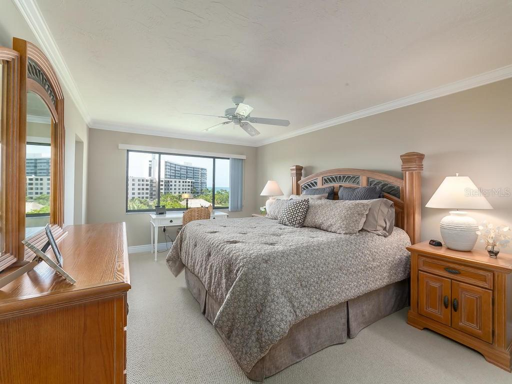 Master bedroom with views of Gulf - Condo for sale at 6236 Midnight Pass Rd #406, Sarasota, FL 34242 - MLS Number is A4188093