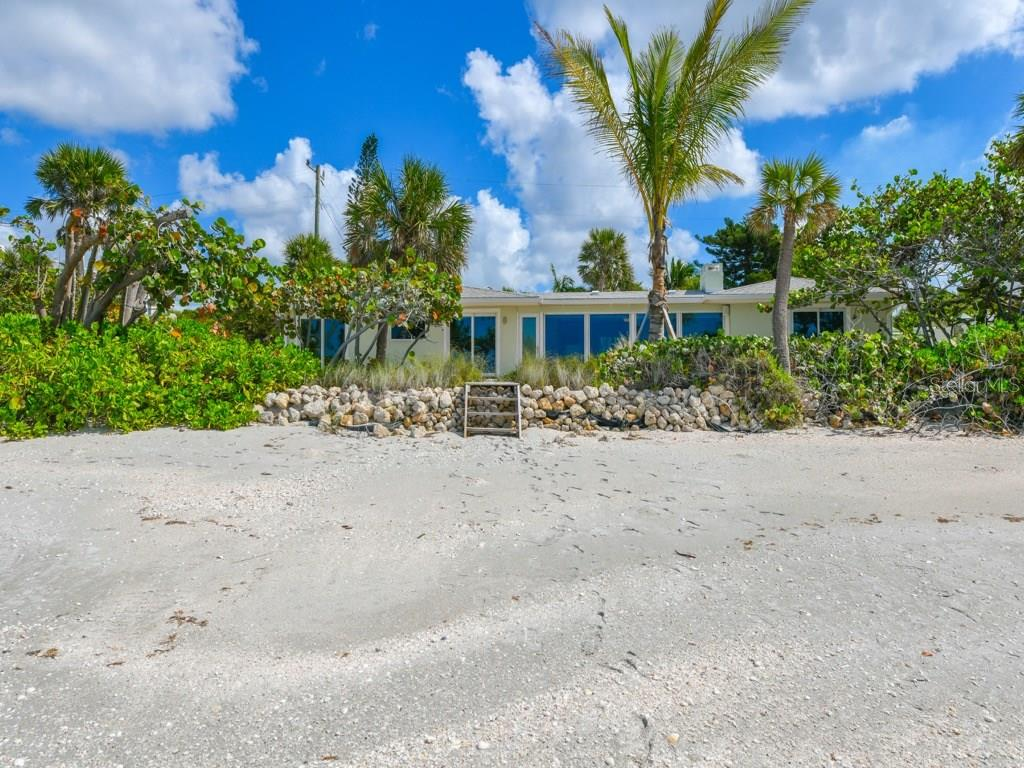 Rip Rap Protected Beachfront and Back Elevation of Home - Single Family Home for sale at 418 N Casey Key Rd, Osprey, FL 34229 - MLS Number is A4198549