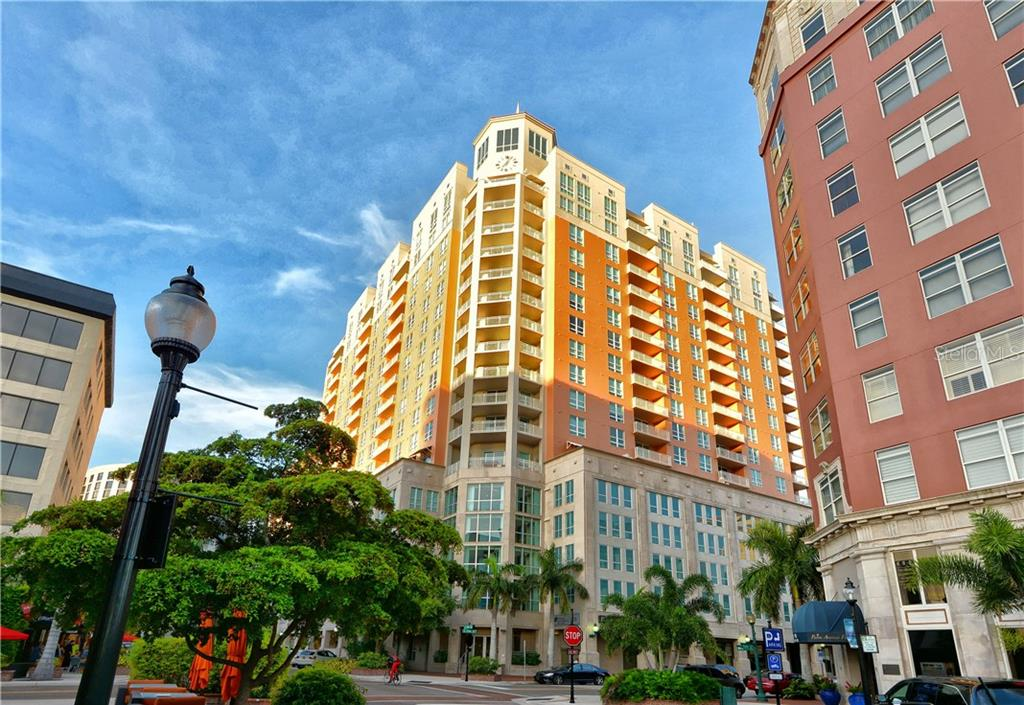 Front Entrance on Main Street and Palm Avenue - Condo for sale at 1350 Main St #1106, Sarasota, FL 34236 - MLS Number is A4209424