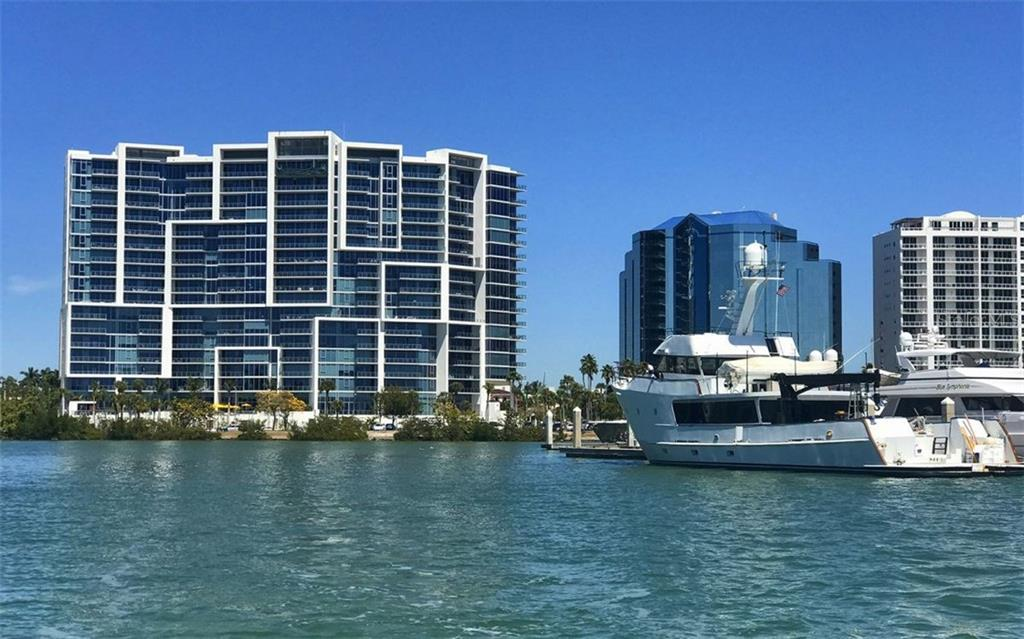 A view of The VUE from Marina Jack's - Condo for sale at 1155 N Gulfstream Ave #1504, Sarasota, FL 34236 - MLS Number is A4215032