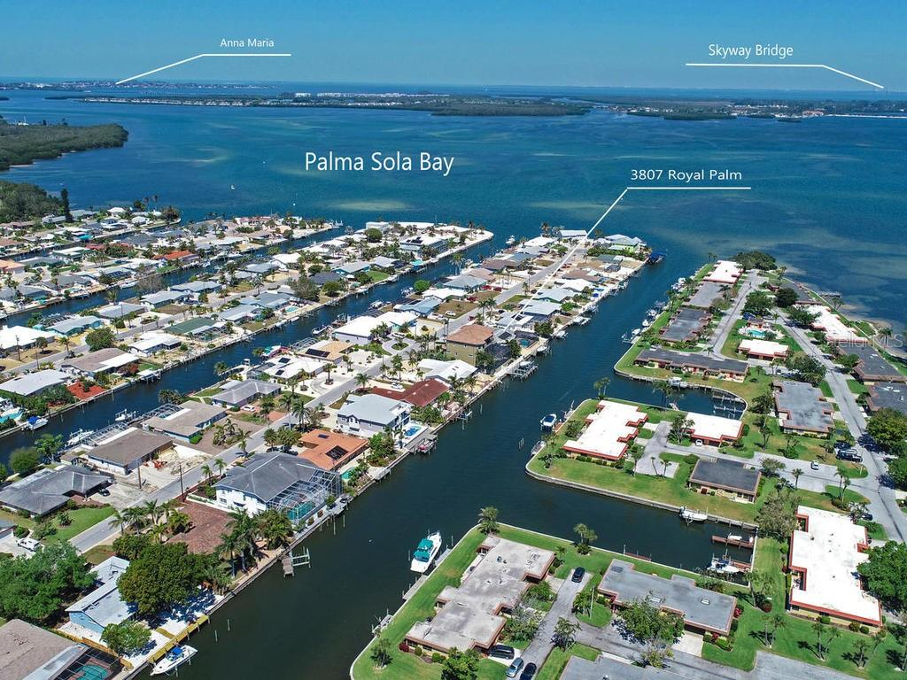 Shows how close we are to the bay, Tampa Bay and Anna Maria Island - Single Family Home for sale at 3807 Royal Palm Dr, Bradenton, FL 34210 - MLS Number is A4402342
