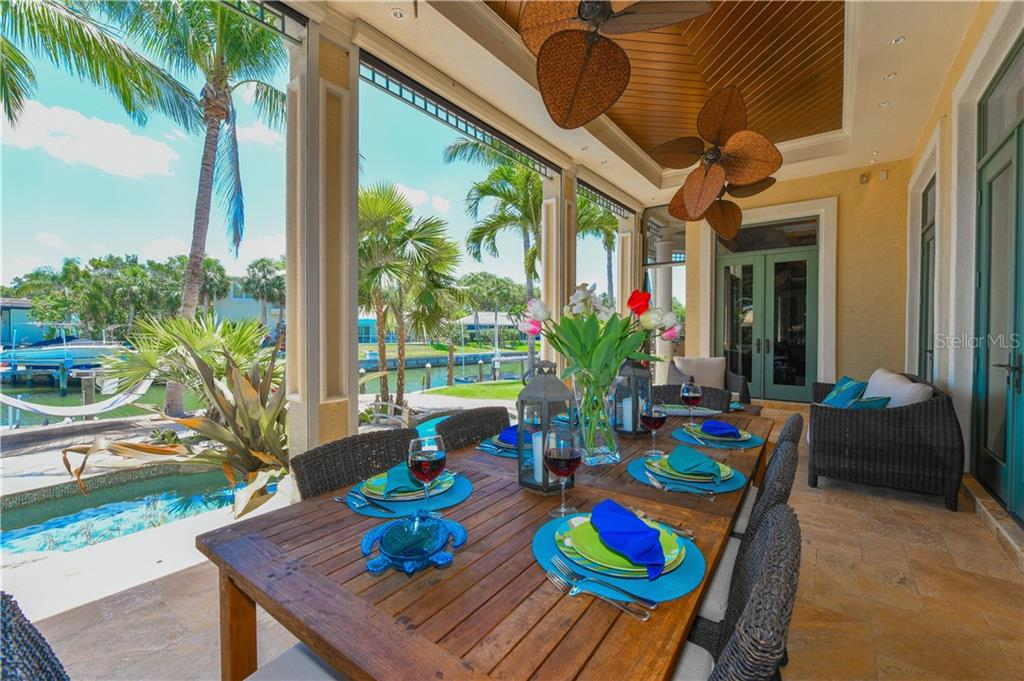 Fabulous terrace on main level with Summer Kitchen and electric screens - Single Family Home for sale at 506 Venice Ln, Sarasota, FL 34242 - MLS Number is A4402493