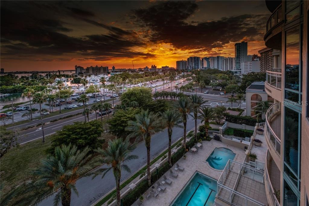 Balcony view looking north. - Condo for sale at 340 S Palm Ave #412, Sarasota, FL 34236 - MLS Number is A4403968
