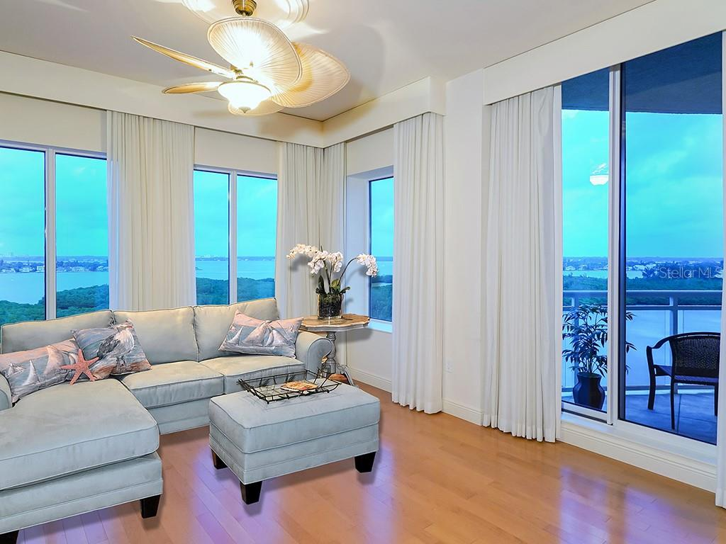 Living Room - Access to Terrace - Condo for sale at 1300 Benjamin Franklin Dr #1008, Sarasota, FL 34236 - MLS Number is A4405360