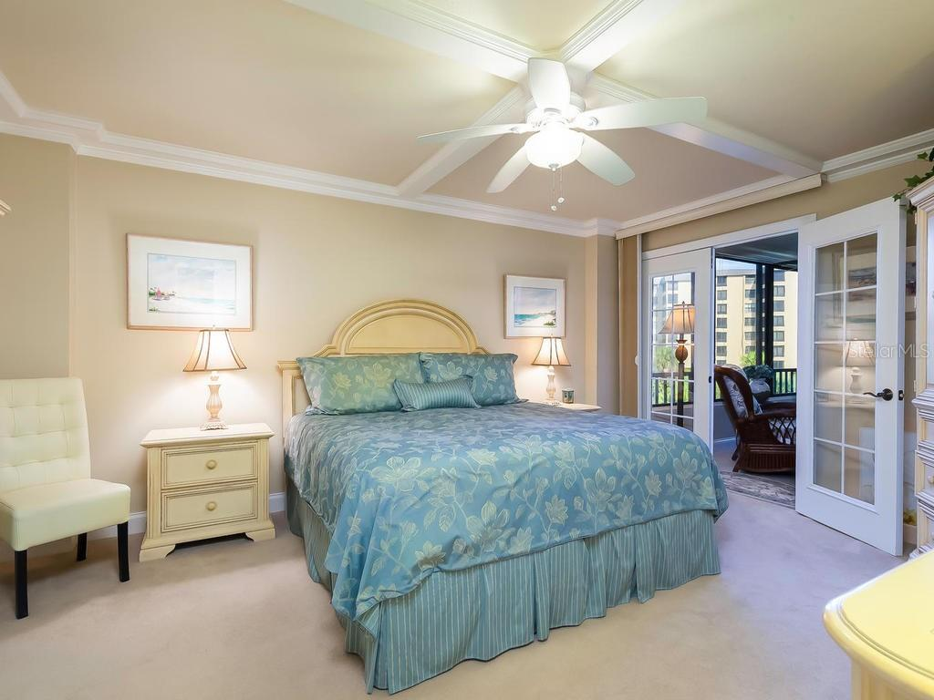 Master Bedroom with French Doors - Condo for sale at 5780 Midnight Pass Rd #208, Sarasota, FL 34242 - MLS Number is A4411755
