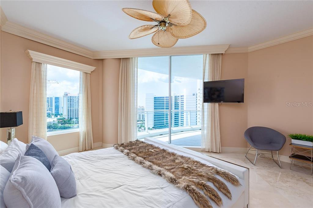 Very glamorous master bedroom with water and Ritz views - Condo for sale at 990 Blvd Of The Arts #1102, Sarasota, FL 34236 - MLS Number is A4417004