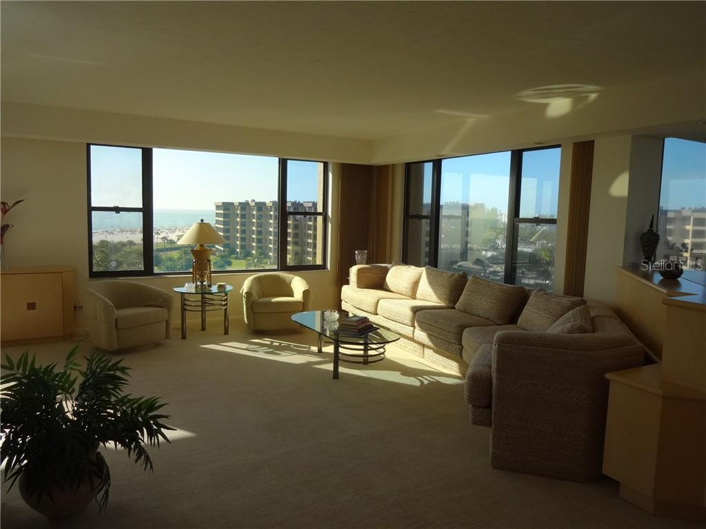 Living room - with west views - Condo for sale at 5780 Midnight Pass Rd #701b, Sarasota, FL 34242 - MLS Number is A4422545