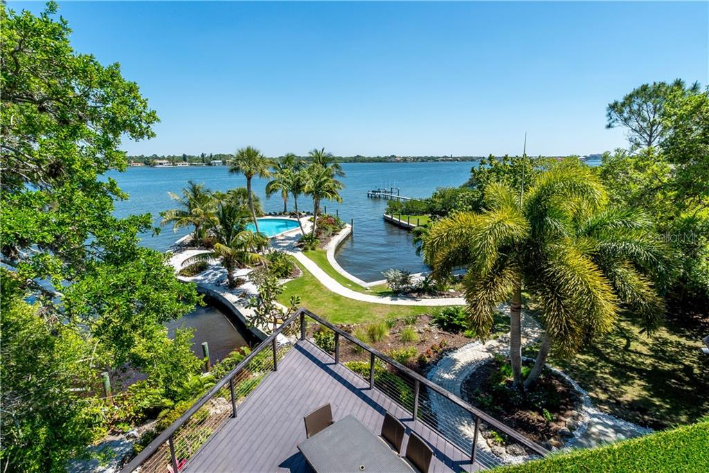Aerial photo from the outdoor deck from the master bedroom. - Single Family Home for sale at 6841 Peacock Rd, Sarasota, FL 34242 - MLS Number is A4430828