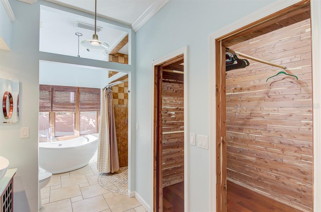 Spacious cedar-lined walk-in closet - Single Family Home for sale at 7945 Palmer Blvd, Sarasota, FL 34240 - MLS Number is A4431318
