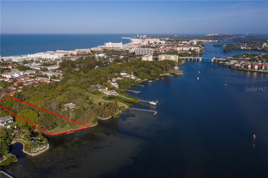 Aerial of property on bay. - Single Family Home for sale at 6837 Peacock Rd, Sarasota, FL 34242 - MLS Number is A4435324