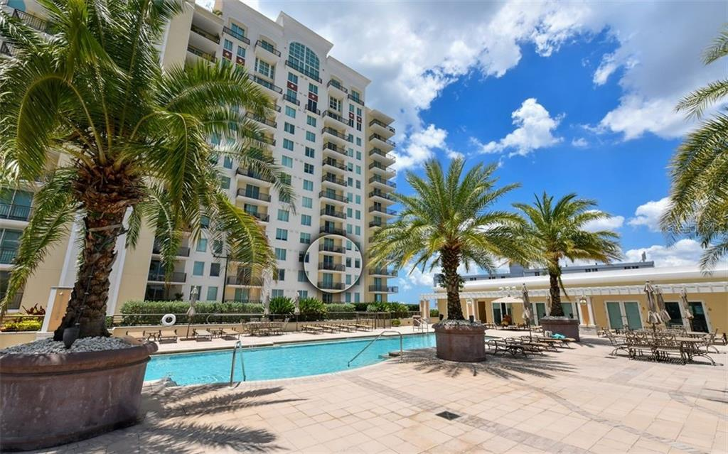 Location of the unit in relation to the pool deck - Condo for sale at 800 N Tamiami Trl #602, Sarasota, FL 34236 - MLS Number is A4436915