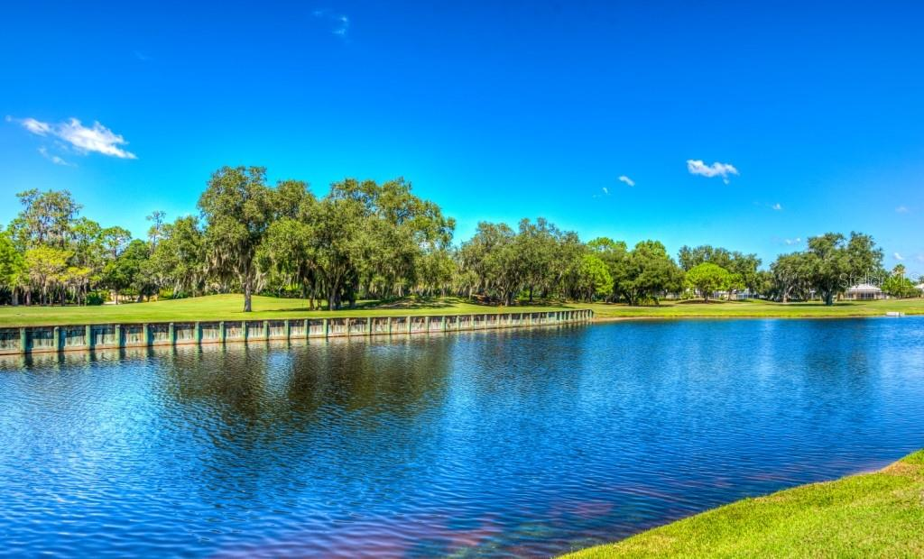 Pond with golf course beyond it. - Single Family Home for sale at 8727 53rd Ter E, Bradenton, FL 34211 - MLS Number is A4447005
