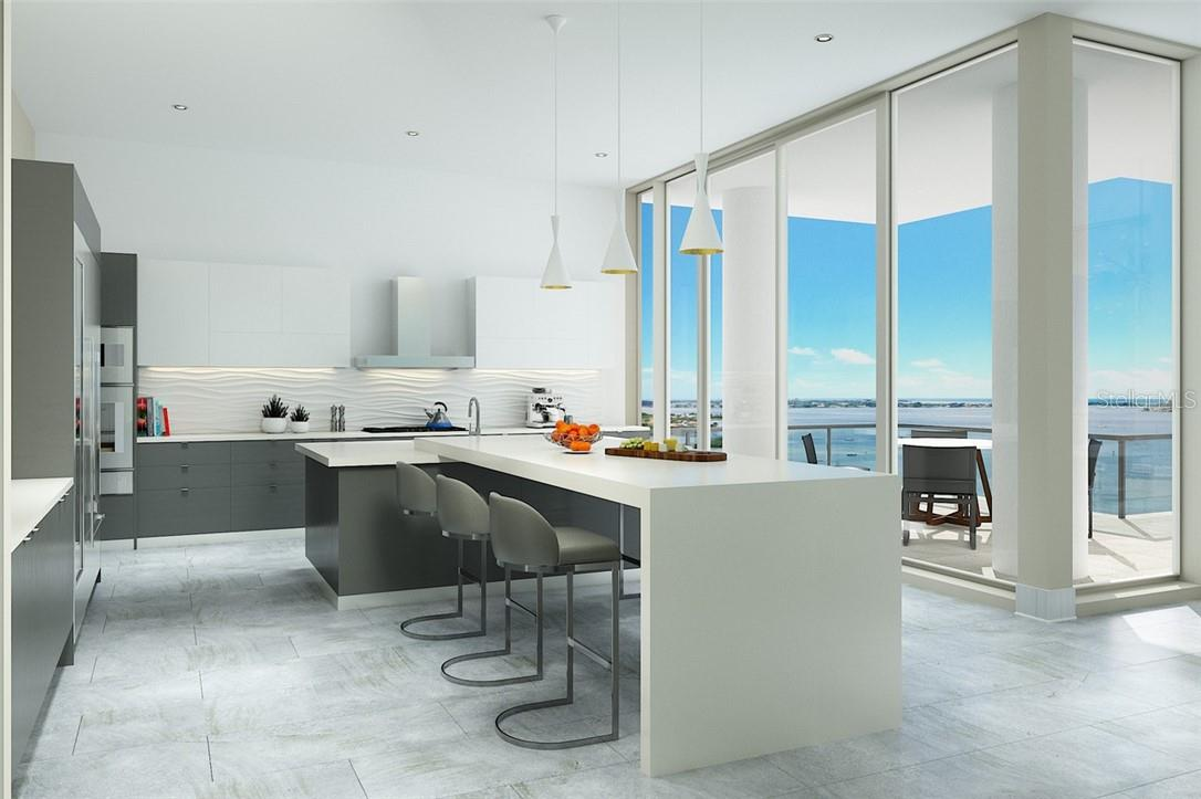 Imported Italian cabinetry, Gaggenau appliances, Dornbracht fixtures, and sparkling bay view are the perfect ingredients for any gourmet chef. - Condo for sale at 605 S Gulfstream Ave #15, Sarasota, FL 34236 - MLS Number is A4453705