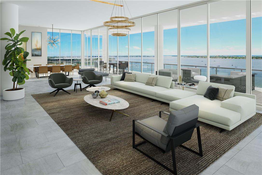 Stunning bay, city, and island views from wraparound floor-to-ceiling glass to the west, north and south. - Condo for sale at 605 S Gulfstream Ave #Ph18, Sarasota, FL 34236 - MLS Number is A4458982