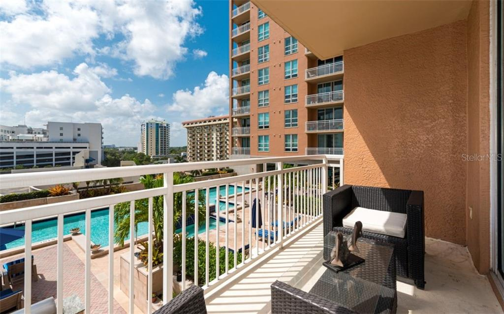 Another viewpoint of the terrace off the great room - Condo for sale at 1350 Main St #701, Sarasota, FL 34236 - MLS Number is A4472236
