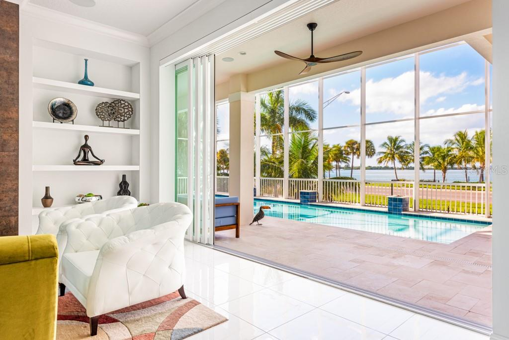 View Towards 3,000+ Square Foot Pool Deck - Single Family Home for sale at 121 Seagull Ln, Sarasota, FL 34236 - MLS Number is A4483951