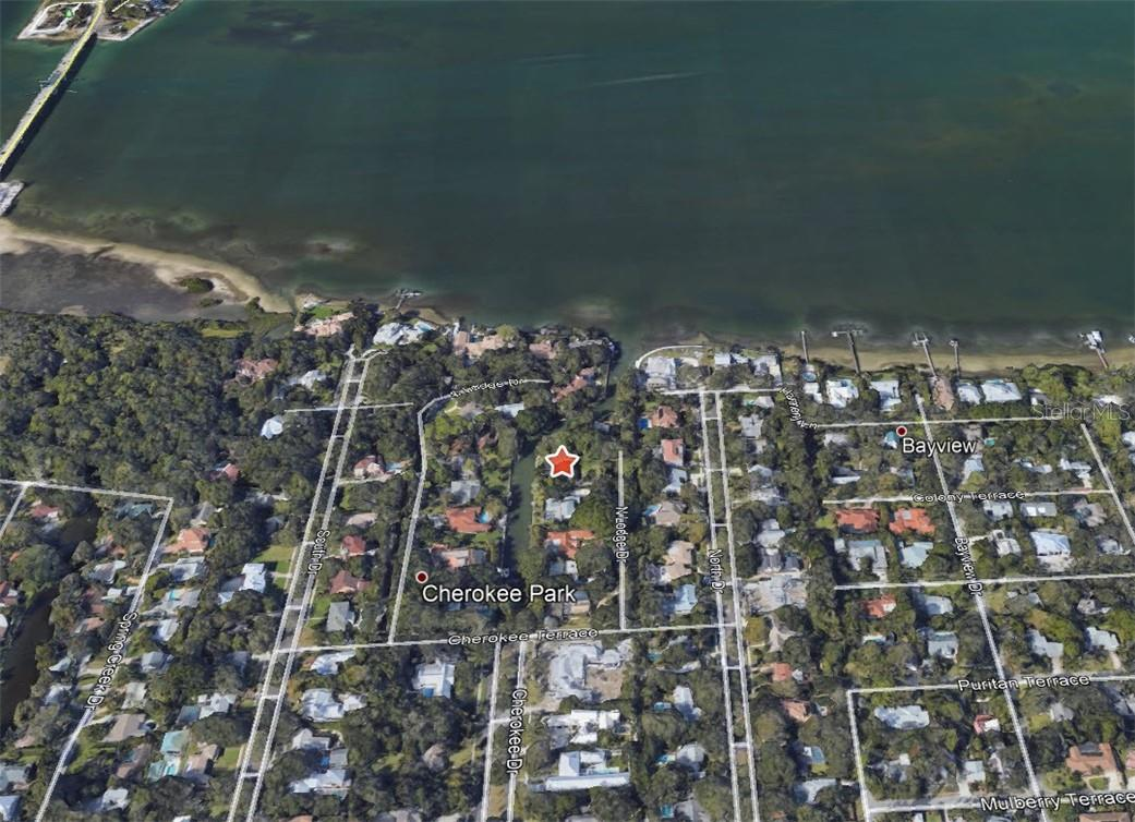 Aerial of Property in Reference to the Bay. - Single Family Home for sale at 1610 N Lodge Dr, Sarasota, FL 34239 - MLS Number is A4493094