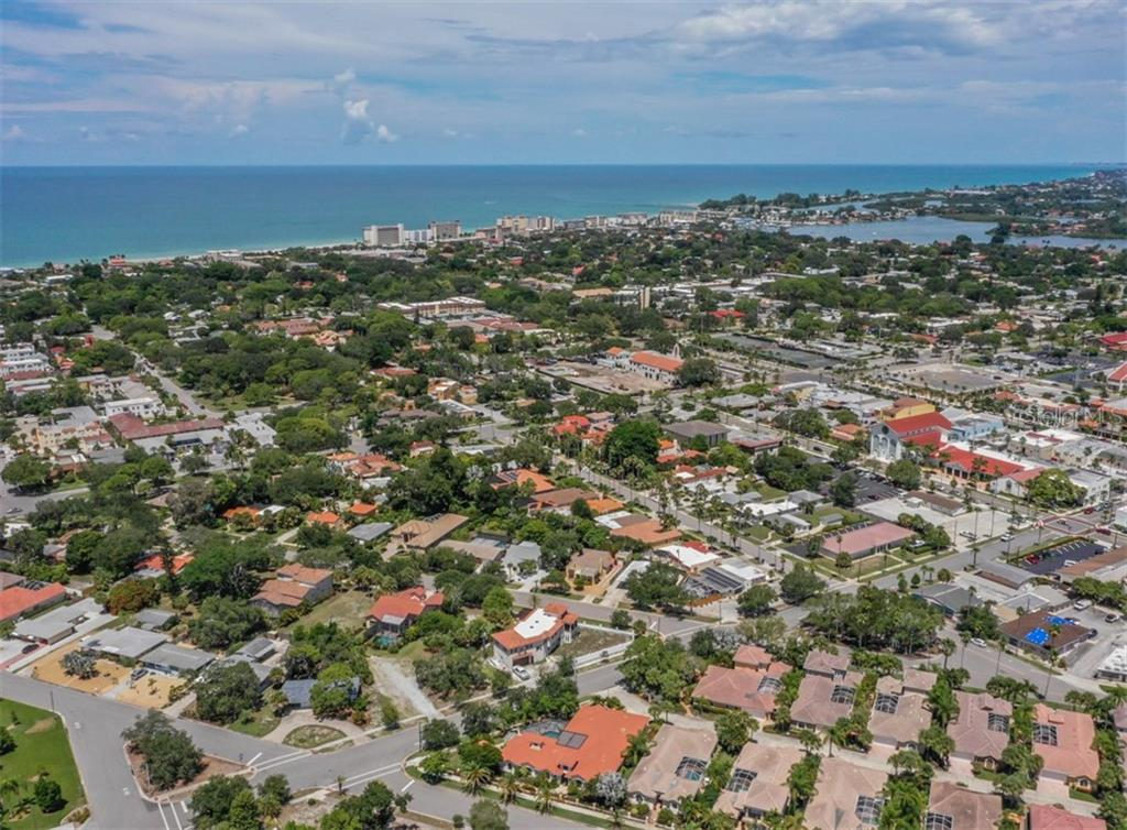 Aerial view to the Gulf of Mexico and Jetties - Vacant Land for sale at 230 Nassau St S, Venice, FL 34285 - MLS Number is N6111555
