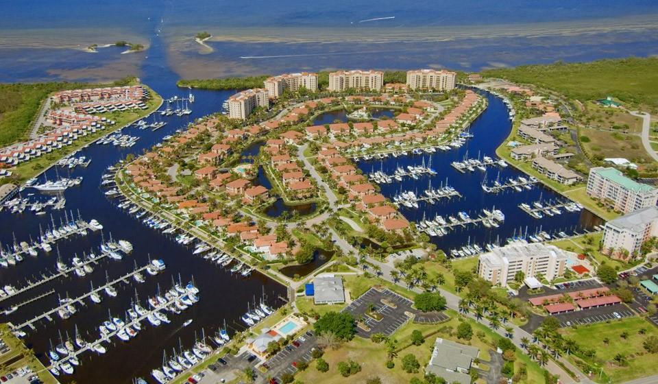 Aerial view of the north & south basins in the marina - Condo for sale at 3191 Matecumbe Key Rd #705, Punta Gorda, FL 33955 - MLS Number is C7423322