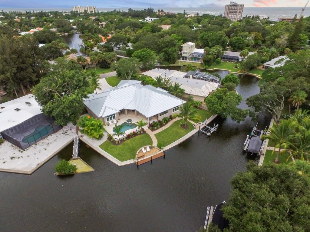 Canal Aerial - Single Family Home for sale at 4847 Primrose Path, Sarasota, FL 34242 - MLS Number is A4415116