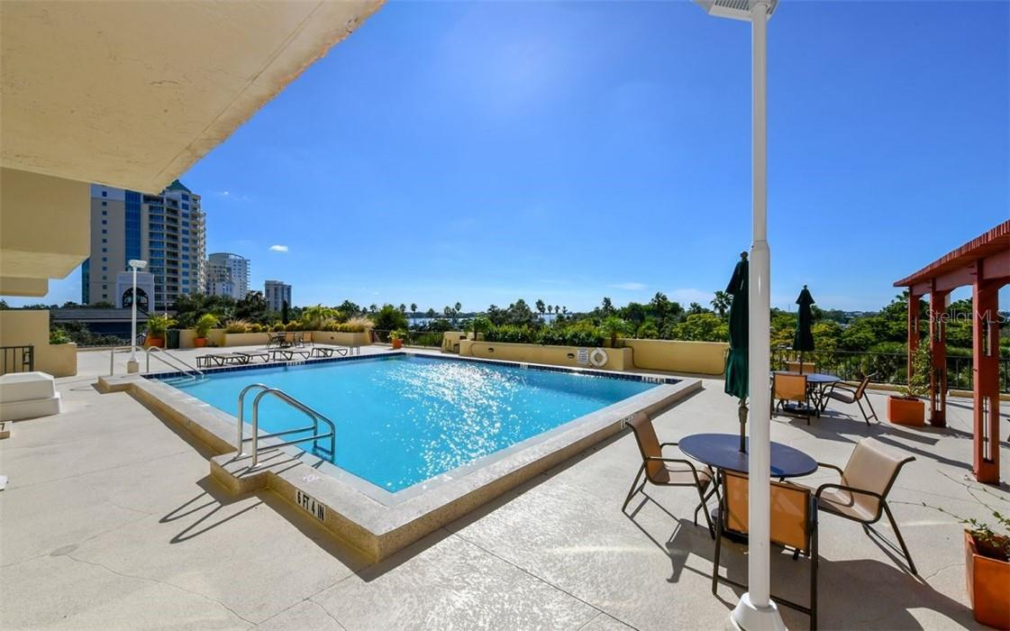Linear view of pool (north view) - Condo for sale at 101 S Gulfstream Ave #10d, Sarasota, FL 34236 - MLS Number is A4420377