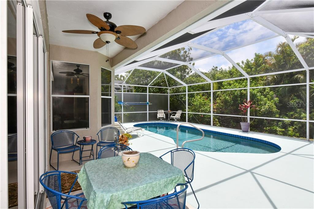 Nice covered space on lanai-totally re-screened and all base bolts on cage replaced with stainless in 2018 - Single Family Home for sale at 4074 Via Mirada, Sarasota, FL 34238 - MLS Number is A4439141