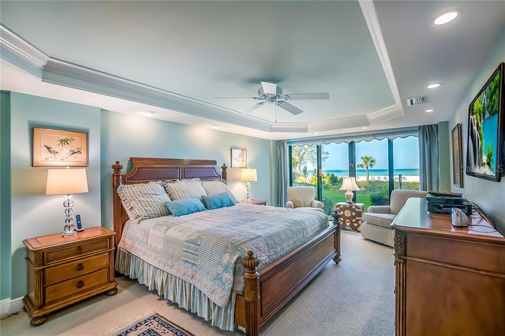 #103 Master Bedroom w/gulf view. Lanai was enclosed making bedroom 22'X12'. - Condo for sale at 20 Whispering Sands Dr #102 & 103, Sarasota, FL 34242 - MLS Number is A4441587