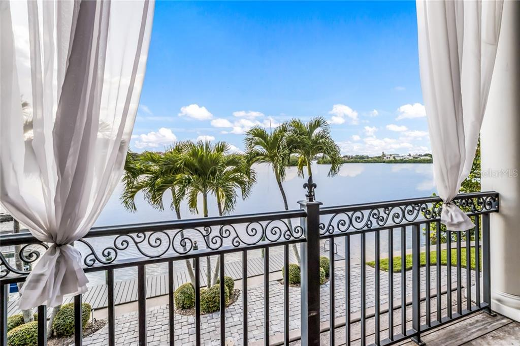 Another breathtaking waterfront view from the main floor balcony. - Single Family Home for sale at 6438 Hollywood Blvd, Sarasota, FL 34231 - MLS Number is A4449895