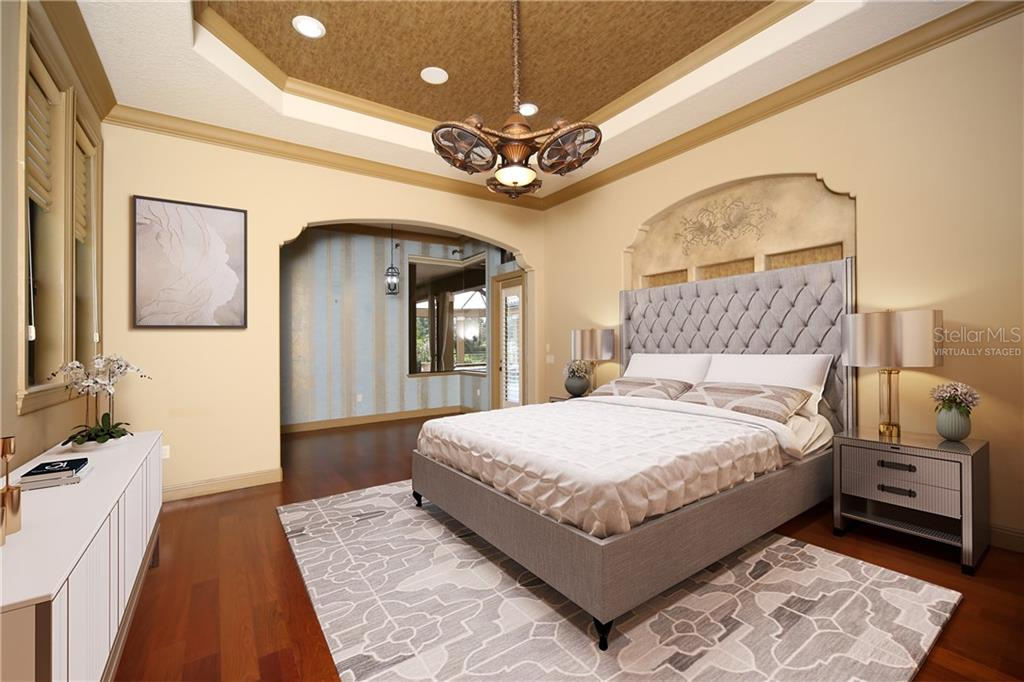 Virtually staged master bedroom with two large walk-in closets - Single Family Home for sale at 15212 Linn Park Ter, Lakewood Ranch, FL 34202 - MLS Number is A4450793