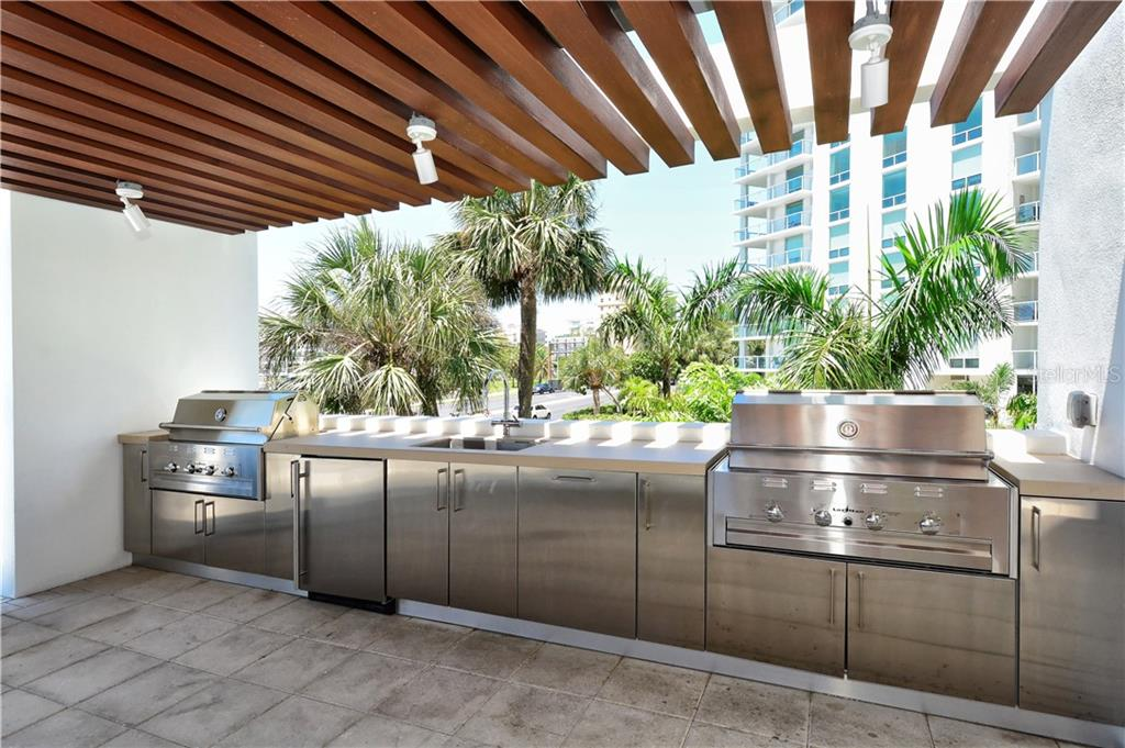 Grilling station inside Pool Cabana - Condo for sale at 1155 N Gulfstream Ave #507, Sarasota, FL 34236 - MLS Number is A4458926
