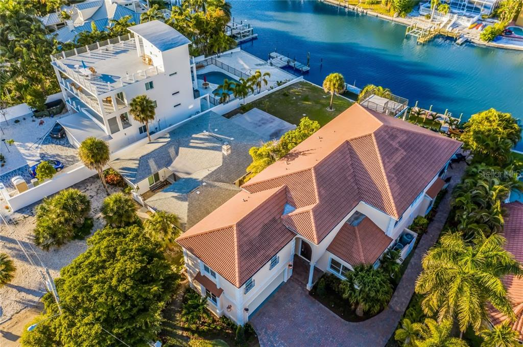 Aerial view, home and canal. - Single Family Home for sale at 443 S Polk Dr, Sarasota, FL 34236 - MLS Number is A4459240