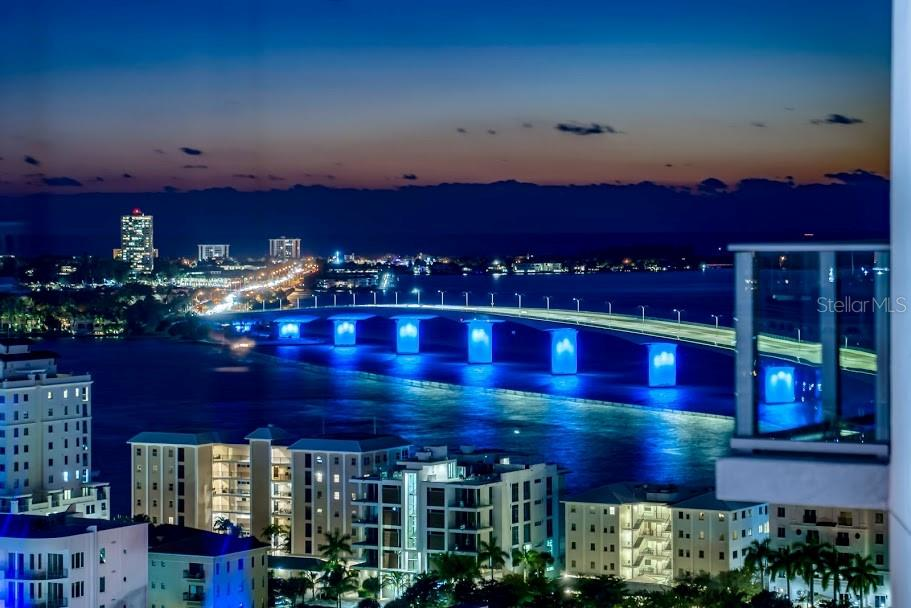 Ringling bride at night from the unit - Condo for sale at 1155 N Gulfstream Ave #1909, Sarasota, FL 34236 - MLS Number is A4461040