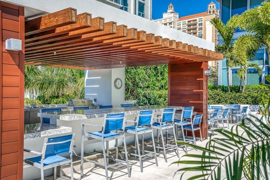Pool side outdoor kitchen and grilling area - Condo for sale at 1155 N Gulfstream Ave #1909, Sarasota, FL 34236 - MLS Number is A4461040