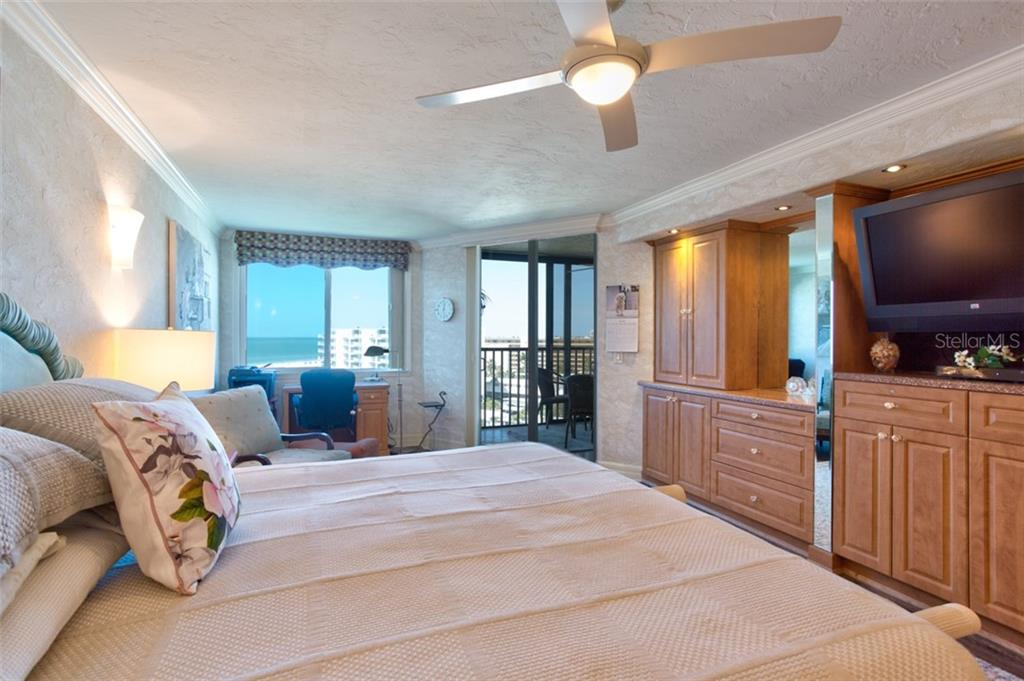 The private master suite provides stunning gulf, beach and sunset views and direct access the wrap-around lanai. - Condo for sale at 5880 Midnight Pass Rd #911, Sarasota, FL 34242 - MLS Number is A4462559