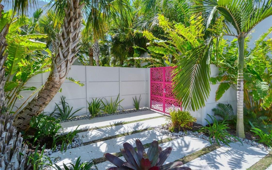 Welcome through the unique gates to the Risdon on 5th signature Zen Garden. - Condo for sale at 1350 5th Street #301, Sarasota, FL 34236 - MLS Number is A4466172