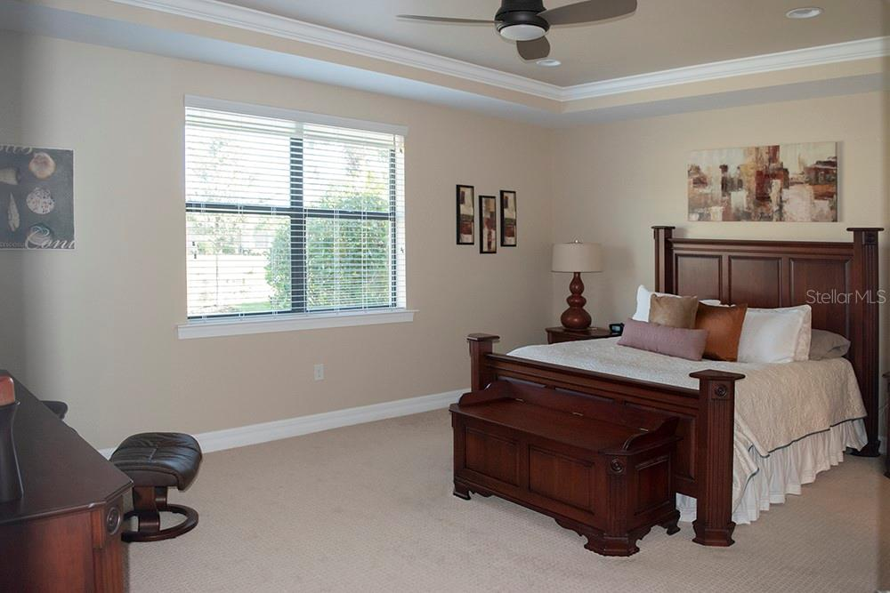 Master bedroom - very spacious with recessed lighting and tray with crown - Single Family Home for sale at 11196 Whimbrel Ln, Sarasota, FL 34238 - MLS Number is A4471096