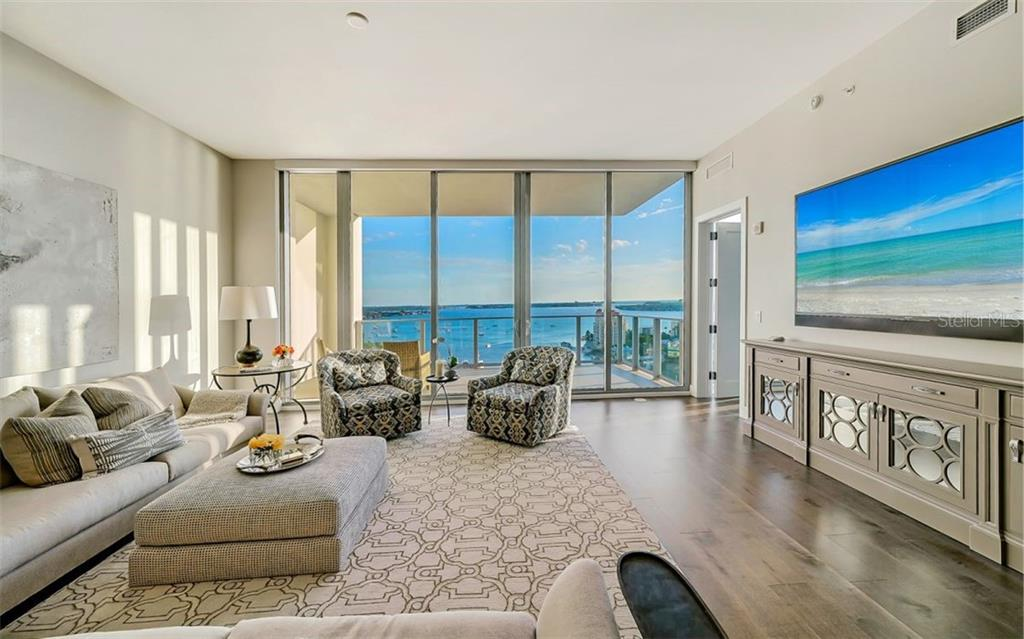 As you enter, great water views of Sarasota Bay and marina; 11' ceilings throughout - Condo for sale at 1155 N Gulfstream Ave #1701, Sarasota, FL 34236 - MLS Number is A4480090